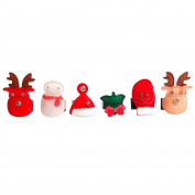 RareLove Christmas Theme Reindeers Snowman Hair Mini Clips For Toddler 6 PCS