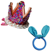 RareLove Girls Colourful Crown Clips with Blue Bunny Ear Hair Tie Accessory For Toddler Kids 2 PCS