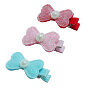 RareLove Baby Girls Cute Three Colours Bowknots with beads Hair Clips For Toddler 3 PCS