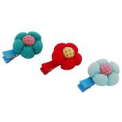 RareLove Baby Girls Cute Daisy Flower Green Red Light Blue Purple Hair Accessory Clips For Toddler Kids 3 PCS