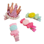 RareLove Girls Pink Crown with Three Candy Clips Hair Accessory For Toddler Kids 4 PCS