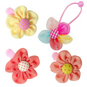 RareLove Baby Girls Daisy Flower Three Colour Hair Clips with Flower Hair Ties For Toddler 4 PCS
