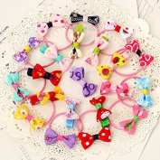 AUCH 20Pcs Cute Bowknot Baby Girls Kids Children Little Princess Hair Ties Bands Ropes Ponytail Holder Elastics, Assorted Colour, Various Style, No Repeated