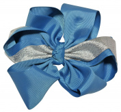 Chicky Chicky Bling Bling Girls Metallic Shimmer Cheer and Dance Hair Bow pecock turquoise