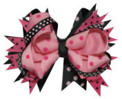 Chicky Chicky Bling Bling Girls 10cm Layered boutique hair bows bubble gum and black dot