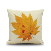 Yellow Maple Leaf Pattern Leisure Household Pillow Cushion Pillow 18*18