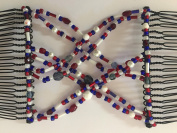 Double Cross Patriotic Hair Comb, Hair Accessory Perfect for Easy Ponytails, UpDos and Twists, Red, White and Blue, Medium, by HairZing