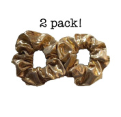 Gold Scrunchie Set, Set of 2 Gold Lame Scrunchies
