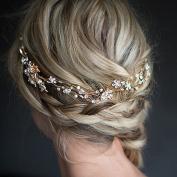 StarDream Pearl Crystal Floral Leaf Wedding Headband Hair Vine with Ivory Organza Ribbons