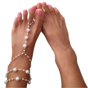 Elegant Artificial Pearl Three Level Pearl Chain Barefoot Sandals Toe Ring Ankle Bracelet Chain Beach Wedding Foot Jewellery Anklets for Women and Girls