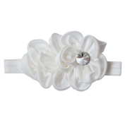 RareLove Baby Girls Headband White Ribbon Flower with Rhinestone Hair Bands Accessories