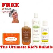 Etae Ultimate Kid's Bundle, Kids Shampoo, Carmel Treatment, Conditioner, Hair Gloss (4 items) w/ Free Shower Cap