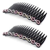 uxcell® Women Plastic Rhinestone DIY Hair Style Comb Clip Slide Hairclip 2pcs Pink
