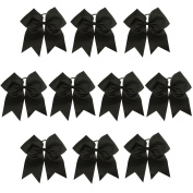 CN Girls Cheer Bow with Ponytail Holder for Cheerleading Girl Pack of 10 Colour Black