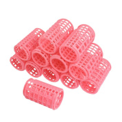 GBSTORE 12 Pcs Plastic DIY Hair Styling Roller Curlers Clips, Pink