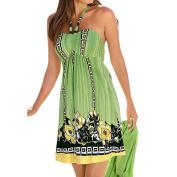 Orangeskycn Women Boho Floral Printed Sleeveless Evening Beach Dress Short Mini Dress