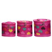 Hatop 3PCS Loving Heart Cylinder Cosmetic Bag Travel Bags Makeup Bag