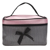 Hatop Fashionable Women Square Bow Stripe Cosmetic Bag Travel Bags Makeup Bag