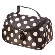 Hatop Fashionable Women Polka Dot Flip Double Zipper Cosmetic Bag Travel Bags Makeup Bag