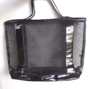 Large Black Mesh Cosmetic Clear Makeup Bag Tote Bag+Patent Vertical Stripes - Find Makeup Brushes & Accessories Fast & Easily,Keeps Dry & Airy Through The Mesh, Great for Multi-use.by LANNCOOM