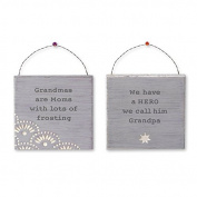 Grandma and Grandpa Mini Gift Signs - Set of Two - 11cm X 11cm