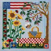 Buttons Beads Counted Cross Stitch Kit 13cm x 13cm SUMMER PICNIC