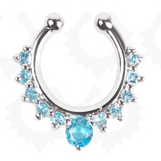 Fashion Fake Septum Clicker Crystal Nose Ring Non Piercing Hanger Clip On Jewellery (Light blue crystal