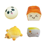 Miraclekoo Set of 4 Squishies Soft Kawaii Squishy Phone Charms-Tofu Smiley Face, Toast Expression, Panda Bun, Turtle Charm