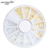 Nail Wheel Accessory with Mixed Mini Gold Silver Mixed Hollow Round, Square Metal Nail Art Studs