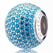 ATHENAIE 925 Silver Plated Platinum with Pave Blue CZ Ocean Love Charm Fit All European Bracelets Necklace