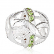 Choruslove Infinity Love with Peridot Crystal August Birthstone 925 Sterling Silver Bead