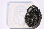 Clear silicone China Amulet Pendant Lucky Money mould. Size 53x30mm.