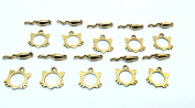 Set of Ten (10) Gold Tone Pewter Cat and Mouse Toggle Clasps