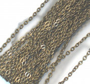 4.6m of Antique Brass over Iron flat cable links chain 3X2mm