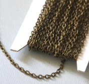 50m of Antique Brass finished Iron round cable chain 2.6X3.9mm - unsoldered