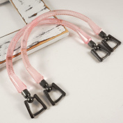 13cm LIGHT PINK Plastic Handbag Handles with metal buckle by 1 pair, LT-5610D