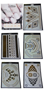 Temporary Metallic Tattoo 5 Sheet Shimmer Pack + BONUS Cuticle Tattoo -Gold , Silver Tribal Aztec Chevron Feathers Stars Non-toxic Long Lasting Waterproof Necklaces Bracelets Rings