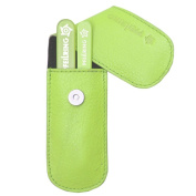 Pfeilring Germany - Manicure, Pedicure, Grooming Set - Glass Nail File & Tweezers, Green Nappa Leather Case, 2 Piece