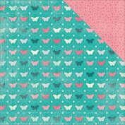 Authentique Paper DAG002 18 Sheet Darling Girl Multi Butterflies Hearts Double-Sided Cardstock, 30cm by 30cm , Teal/Pink