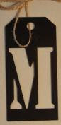 Stencil Cut Initial Metal Tag - M