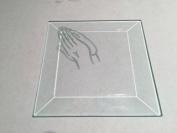 7.6cm Square Engraved Praying Hands Premium 1.3cm Bevelled Glass - Pkg of 12