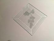 7.6cm Square Engraved Rose Premium 1.3cm Bevelled Glass - Pkg of 12