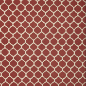 Courtyard Trellis Red White Contemporary Geometric Print Outdoor Upholstery Fabric by the yard