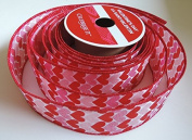 Pink & Red Hearts 3.8cm . X 2.7m 100% Polyester Ribbon - Great for Any Occasion!