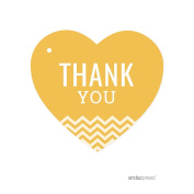 Andaz Heart Gift Tags, Chevron Style, Thank You, Deep Yellow, 30-Pack