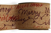 Merry Christmas Ribbon natural and red 3.8cm x 10 yard