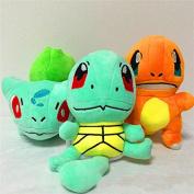3pcs/lot Pokemon Bulbasaur Charmander Squirtle Stuffed Plush Toy Figure Hot