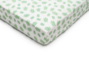 GOTS-Certified Fitted Crib Sheet in Soft Organic Cotton for Baby or Toddler, Turtle Print
