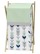 Sweet Jojo Designs Baby/Kids Clothes Laundry Hamper for Grey, Navy Blue and Mint Woodland Arrow Girl or Boy Bedding Sets