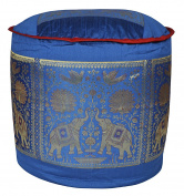 Indian Silk Round Ottoman Cover 17 X 43cm X 30cm